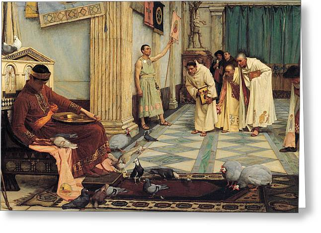 The Favourites Of The Emperor Honorius Greeting Card by John William Waterhouse