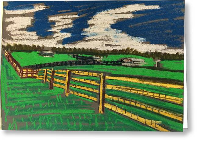 Fence Pastels Greeting Cards - The Fence Greeting Card by Tim Bruneau