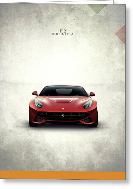 Red Ferrari Greeting Cards - The Ferrari F12 Greeting Card by Mark Rogan