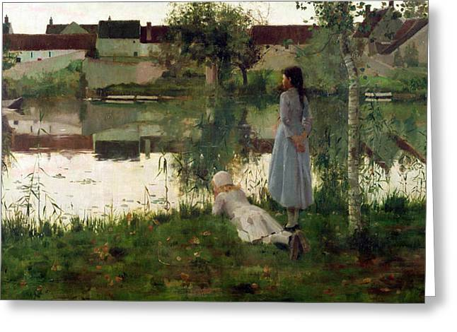 Watch Paintings Greeting Cards - The Ferry Greeting Card by William Stott