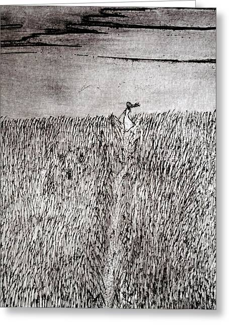 Escape Reliefs Greeting Cards - The Field Greeting Card by Josean Rivera