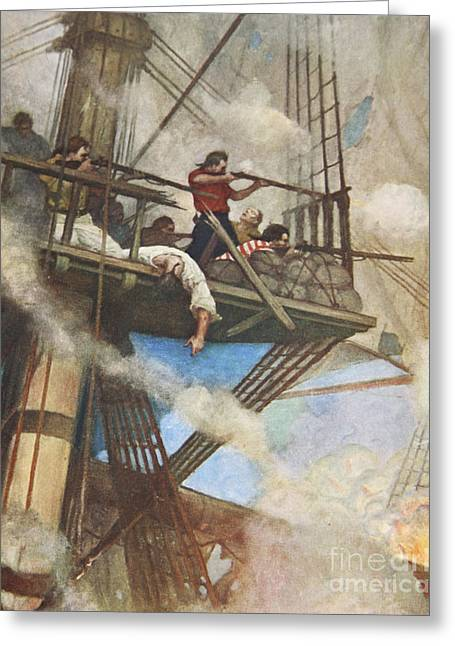The Fight In The Fire-tops Against An English Ship Greeting Card by Newell Convers Wyeth