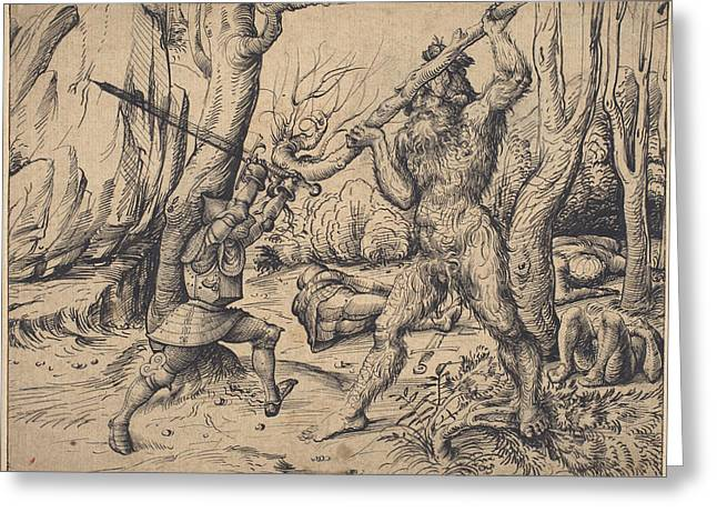 The Fight In The Forest Greeting Card by Hans Burgkmair I