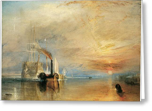 Sea Going Greeting Cards - The Fighting Temeraire tugged to her last berth Greeting Card by J M W Turner