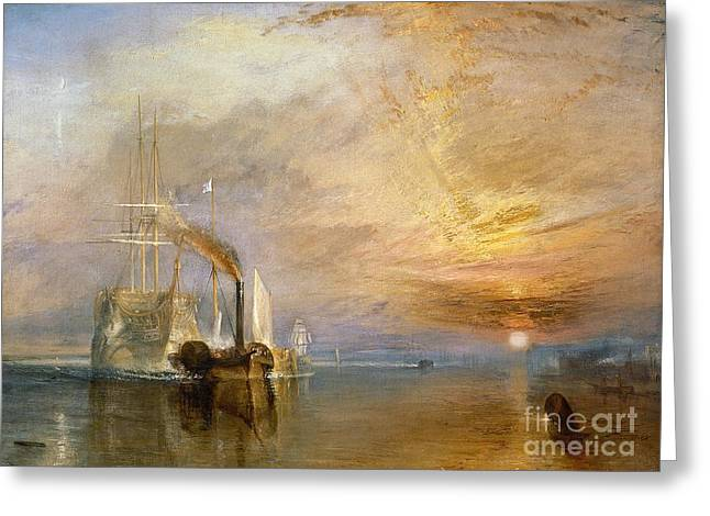 Tug Greeting Cards - The Fighting Temeraire Tugged to her Last Berth to be Broken up Greeting Card by Joseph Mallord William Turner