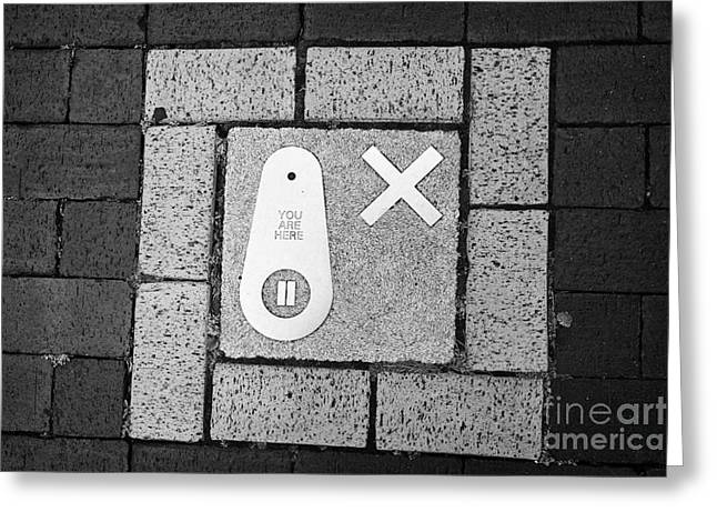 Meeting. Point Greeting Cards - the findings trail in the pavement of Birmingham jewellery quarter UK Greeting Card by Joe Fox