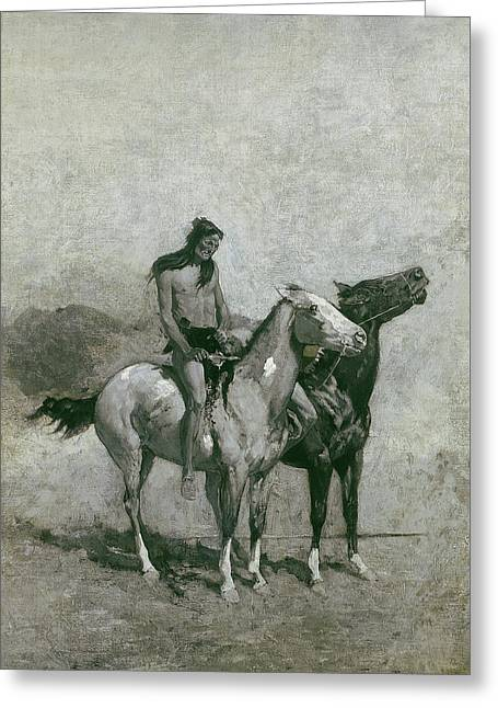 The Fire-eater Slung His Victim Across His Pony Greeting Card by Frederic Remington