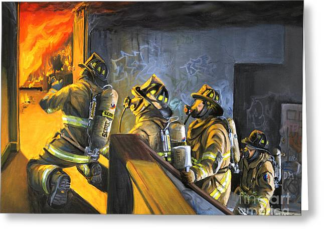 Firefighter Greeting Cards - The Fire Floor Greeting Card by Paul Walsh