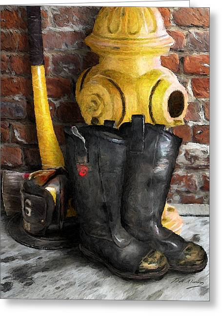 The Fireman Greeting Card by Bill Fleming