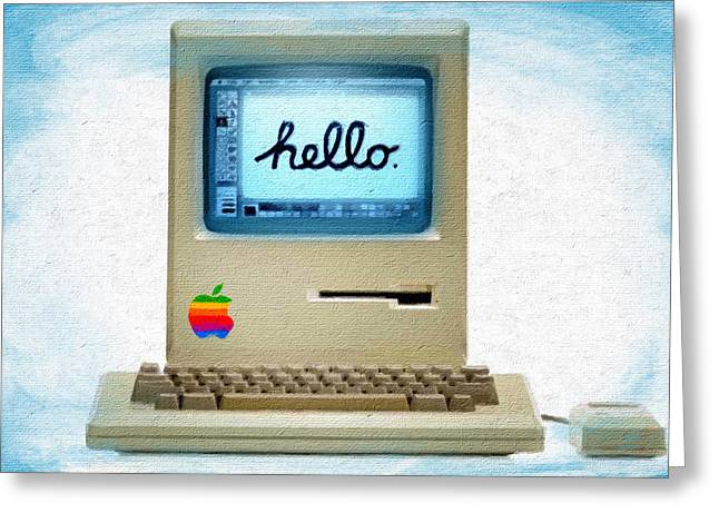 The First Apple Computer Painting Blue Greeting Card by Tony Rubino