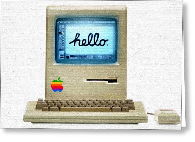 The First Apple Computer Painting Greeting Card by Tony Rubino
