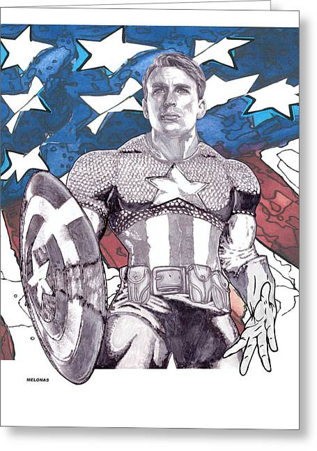 Chris Evan Greeting Cards - The First Avenger Greeting Card by Peter Melonas