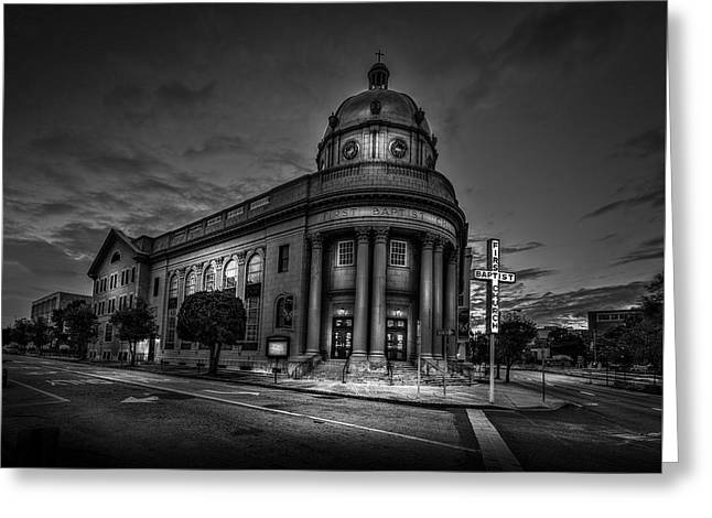 The First Baptist Church Of Tampa Bw Greeting Card by Marvin Spates
