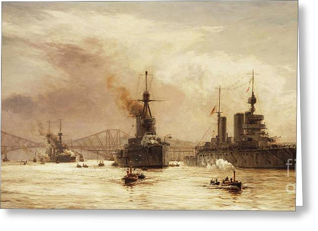 The First Battle Squadron Leaving The Forth For The Battle Of Jutland Greeting Card by William Lionel Wyllie