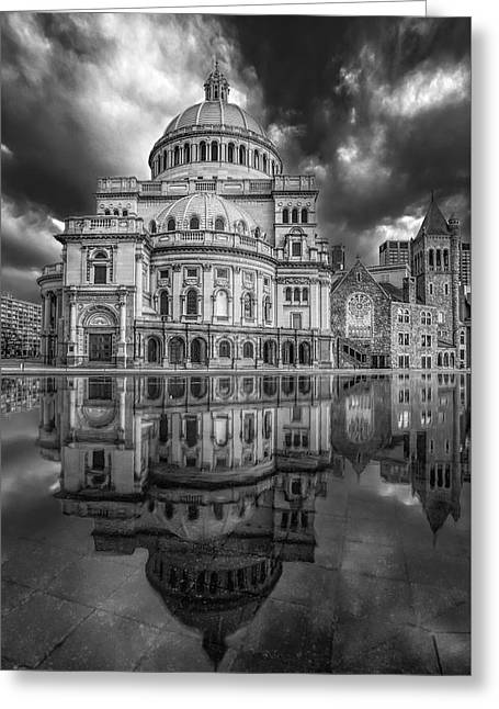 Boston Ma Greeting Cards - The First Church of Christ Scientist BW Greeting Card by Susan Candelario