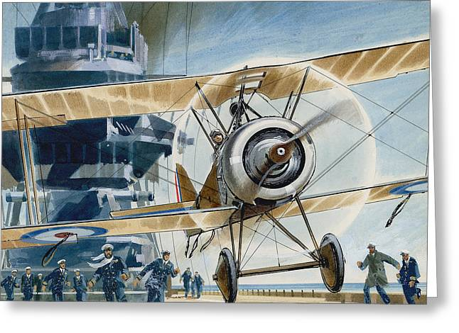 The First Deck Landing Greeting Card by Wilf Hardy