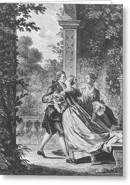 18th Century Greeting Cards - The first kiss of love Greeting Card by Jean Michel the Younger Moreau