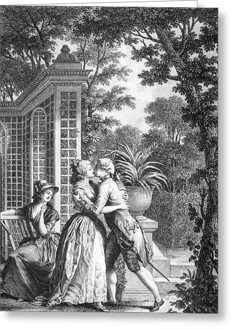 18th Century Greeting Cards - The First Kiss of Love Greeting Card by Nicolas Andre Monsiau