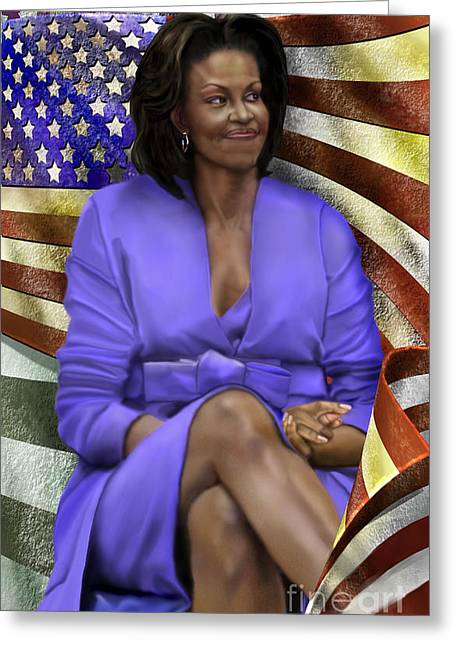 Mrs. Obama Greeting Cards - The First Lady-American Pride Greeting Card by Reggie Duffie