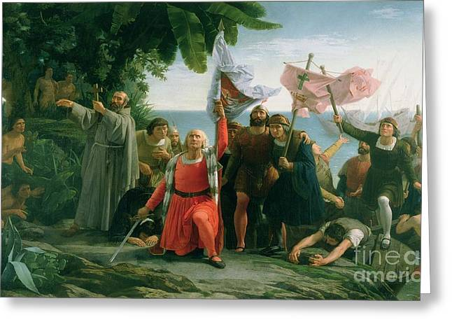 Landing Paintings Greeting Cards - The First Landing of Christopher Columbus Greeting Card by Dioscoro Teofilo Puebla Tolin