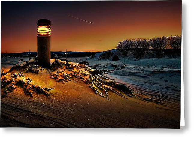 Snow-covered Landscape Digital Art Greeting Cards - The first light at sunset Greeting Card by Jeff S PhotoArt
