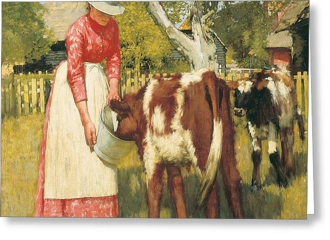 Apron Greeting Cards - The First Meal Greeting Card by Henry Herbert La Thangue