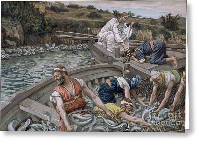 Religion Greeting Cards - The First Miraculous Draught of Fish Greeting Card by Tissot
