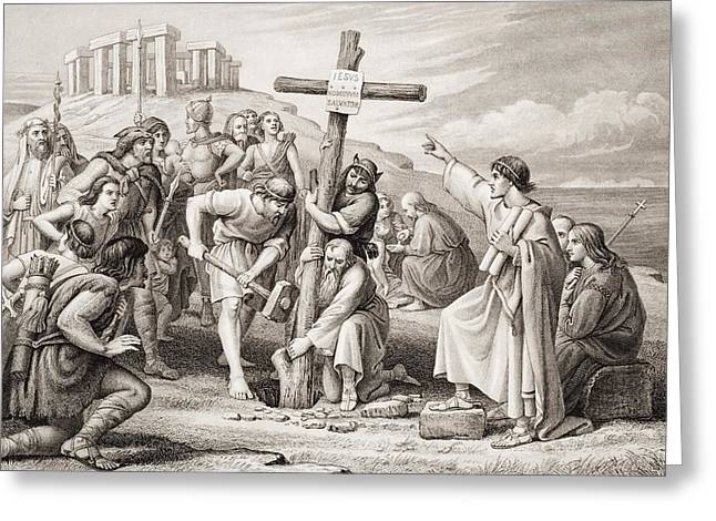 Crucifix Drawings Greeting Cards - The First Preaching Of Christianity In Greeting Card by Ken Welsh