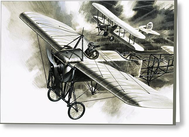 The First Reconnaissance Flight By The Rfc Greeting Card by Wilf Hardy