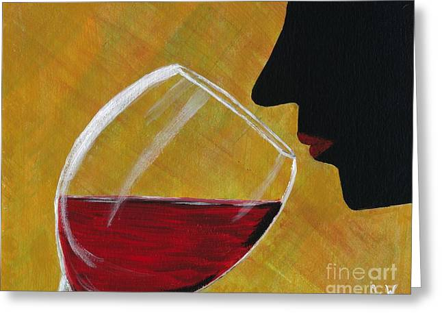 Wine Sipping Paintings Greeting Cards - The First Taste Greeting Card by Janet Webb