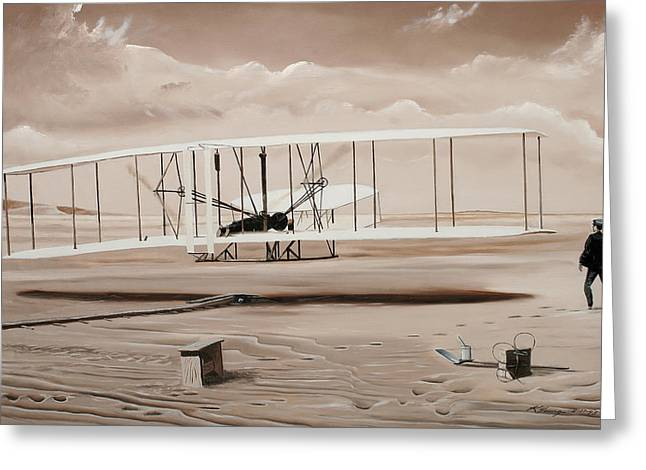 Historic Aviation Greeting Cards - The First to Fly Greeting Card by Kenneth Young