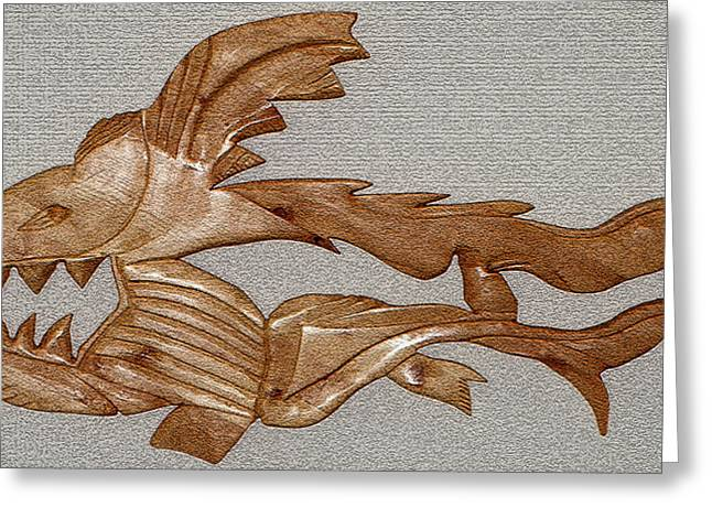Shark Fossil Art Greeting Cards - The Fish Skeleton Greeting Card by Robert Margetts