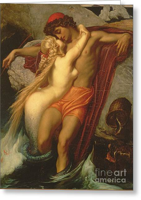 Wrapped Around Greeting Cards - The Fisherman and the Siren Greeting Card by Frederic Leighton