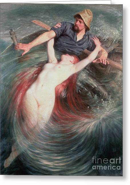 Fear Greeting Cards - The Fisherman and the Siren Greeting Card by Knut Ekvall