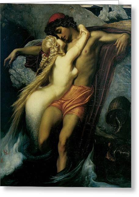Frederick Greeting Cards - The Fisherman and the Syren Greeting Card by Frederick Leighton