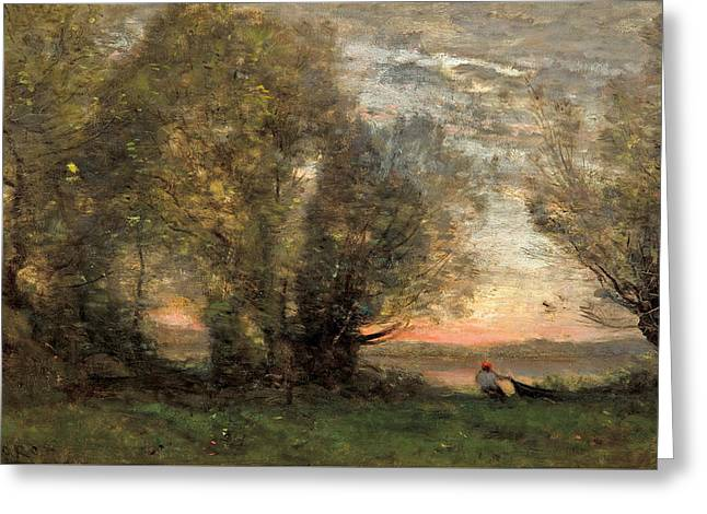 The Fisherman - Evening Effect Greeting Card by Jean-Baptiste-Camille Corot