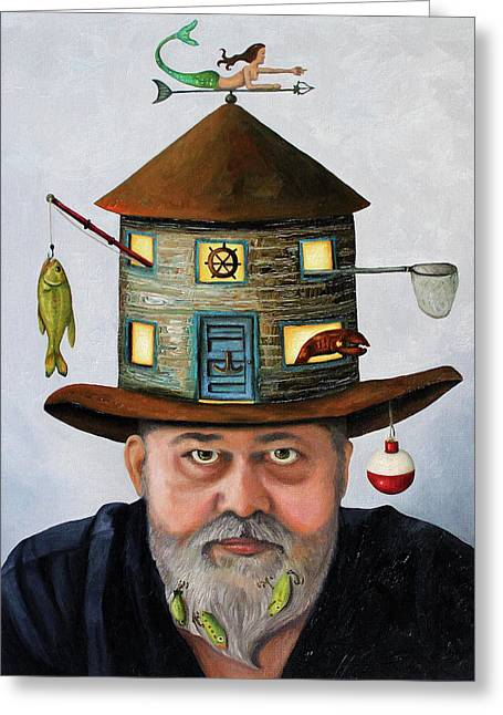 Lobster Fishermen Greeting Cards - The Fisherman Greeting Card by Leah Saulnier The Painting Maniac