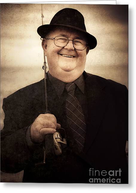 The Fisherman Greeting Card by Jorgo Photography - Wall Art Gallery