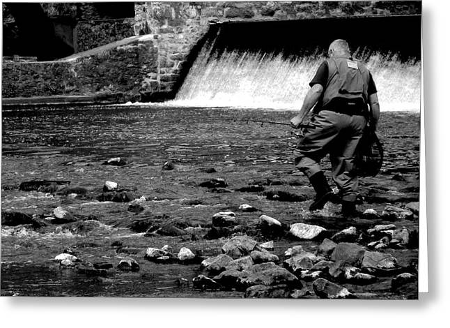 Trout Fishing Greeting Cards - The Fisherman Greeting Card by Val Arie