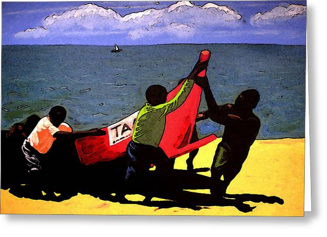 African-americans Greeting Cards - The fishermen Greeting Card by Wendel Johnston