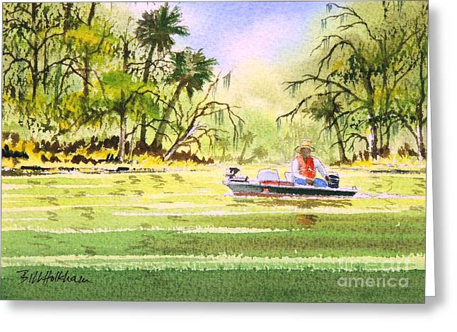 Wildlife Refuge. Paintings Greeting Cards - The Fishing Is Done - Heading Home Greeting Card by Bill Holkham