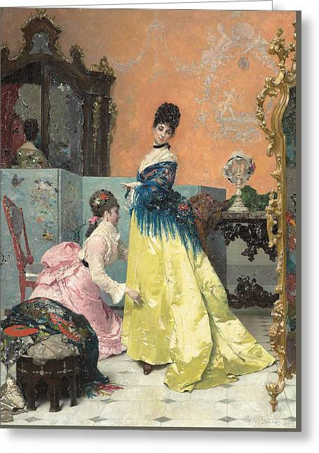 Assist Greeting Cards - The Fitting Greeting Card by Alfred Emile Stevens