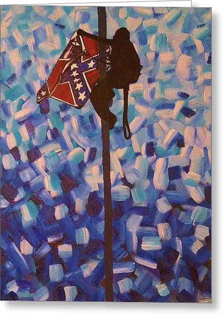 Civil Rights Greeting Cards - The Flag Comes Down Greeting Card by Teresa Hay
