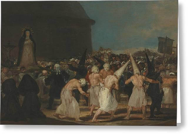 The Flagellants Greeting Card by Francisco Goya