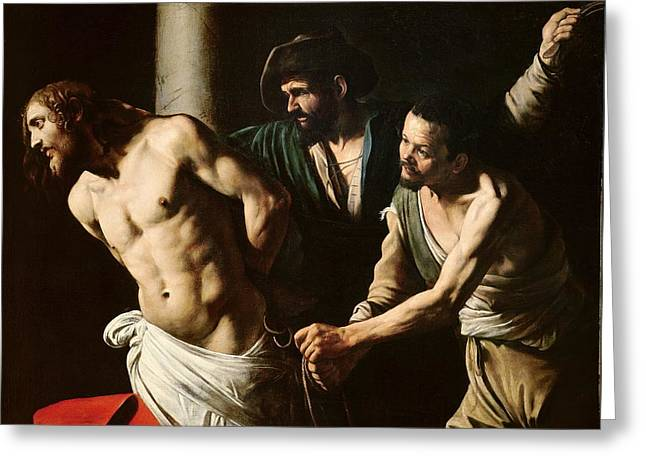 Michelangelo Caravaggio Greeting Cards - The Flagellation of Christ Greeting Card by Caravaggio
