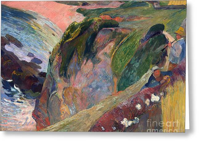 Vintage Painter Greeting Cards - The Flageolet Player on the Cliff Greeting Card by Gauguin