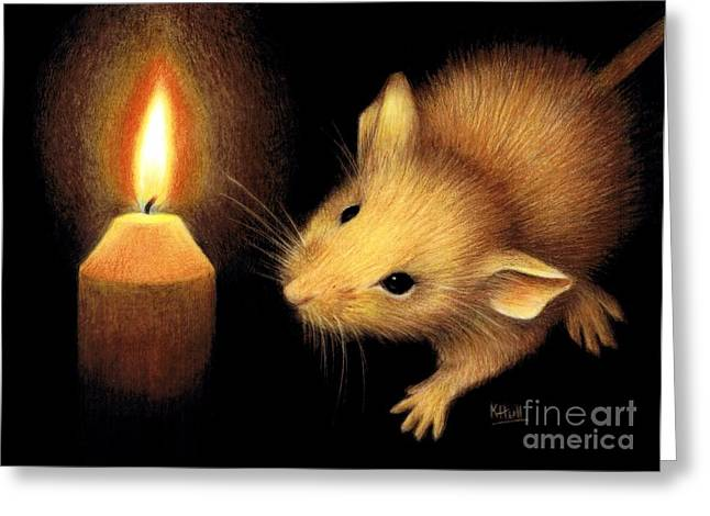 Candle Lit Drawings Greeting Cards - The Flame Greeting Card by Karen Hull