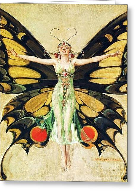 Illustrator Paintings Greeting Cards - The Flapper Greeting Card by Pg Reproductions