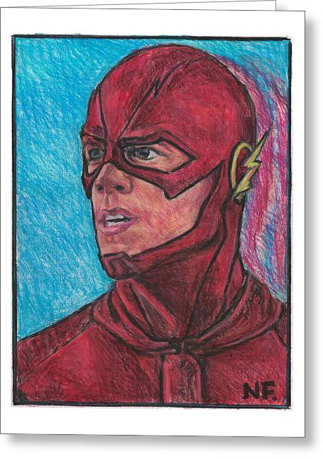 The Flash As Portrayed By Actor Grant Gustin Greeting Card by Neil Feigeles