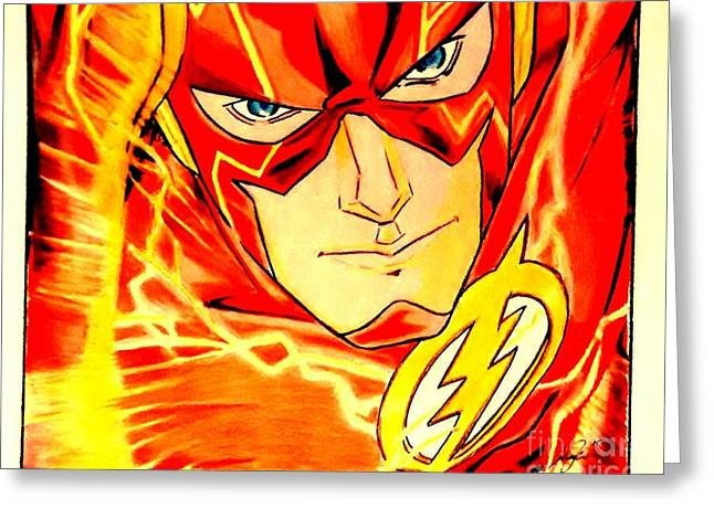 Flash Drawings Greeting Cards - The Flash Greeting Card by Jesse Steel